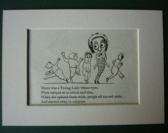 1950 Vintage Edward Lear Print - Large Eyes - Nonsense Rhyme - Victorian Poetry - Poem - Limerick - Vintage Print - Big Eye - Humour - Humor