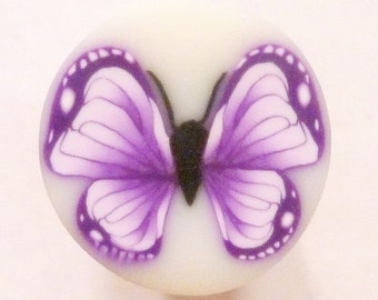 Purple and White Butterfly Polymer Clay Cane