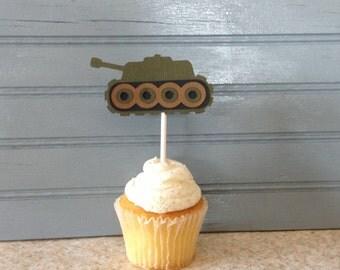 Army Tank Cupcake Topper (set of 12)