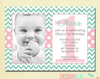 Girl's Chevrons and Polka Dots Birthday Invitation - 1, 2, 3, 4, 5 year old - 1st Birthday Baby Girl - Pink and Teal - ANY Age Birthday