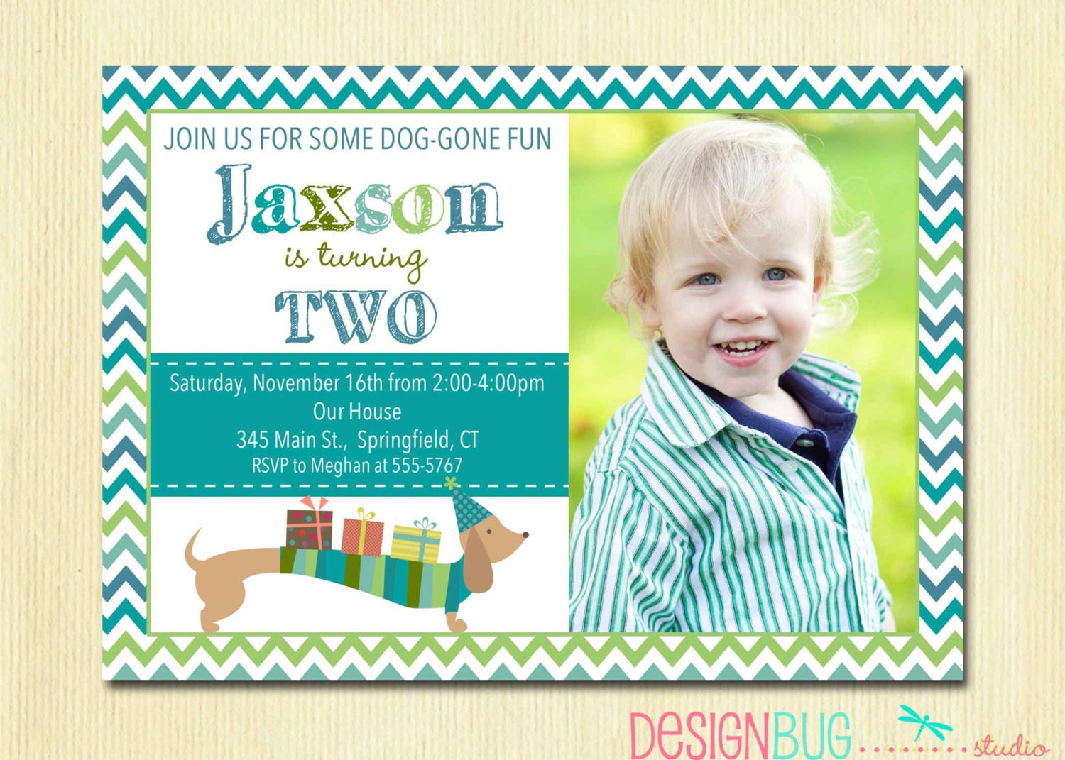 Birthday Boy Dog Invitation Weiner Dog Dachshund Invite – 2 Year Old Birthday Invites
