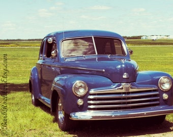 Airport Blue - Wall Art - Classic Car Art Prints - Retro Print - Vintage Car Photography - Garage Art - Father's Day - 1946 Ford - 8x10