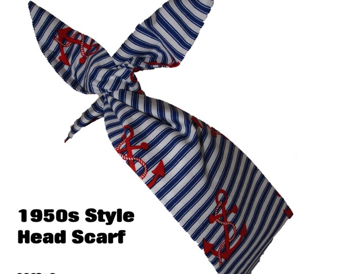 50s Vtg Navy Anchor Head Scarf With Wire or Not - Rockabilly Blue White & Red