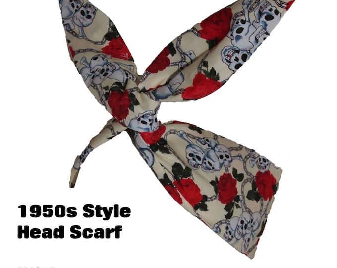 Vintage 50s Mini Cream Skull And Rose Head Scarf - Hair Tie - 1950s Bandanna Tattoo Skulls Skeleton Steampunk EMO
