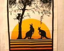 Choice of New Zealand Maori or Australian sunset silhouette souvenir towel warrior chief costumes kangaroos koala vintage
