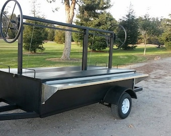 Santa Maria Trailer BBQ Pit for commercial BBQing 8 x 4 feet long