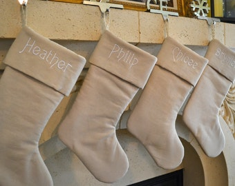Personalized Linen Christmas Stocking - Monogrammed Natural Linen Stocking