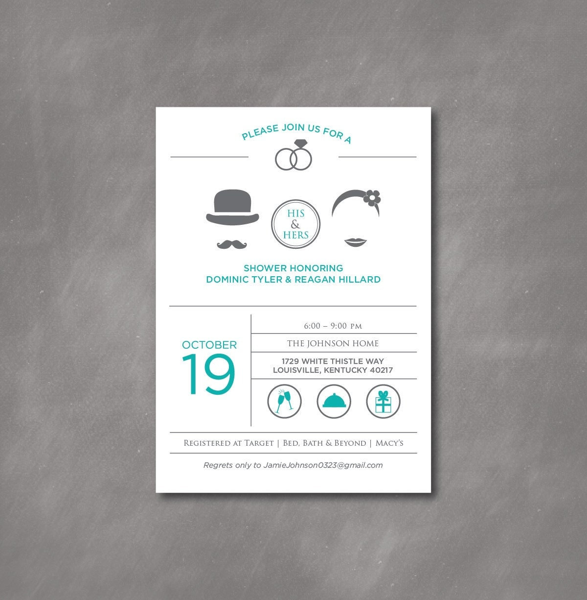 ... / His & Hers / Joint / Bridal / Couple's / Icon Shower Invitation