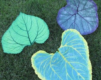 One of a kind Concrete Leaf, Hand painted leaf, Yard art, Patio decor, Sunflower concrete leaf