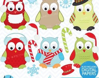 80% 0FF SALE Christmas owls clipart, commercial use, vector graphics, digital clip art, digital images - CL370