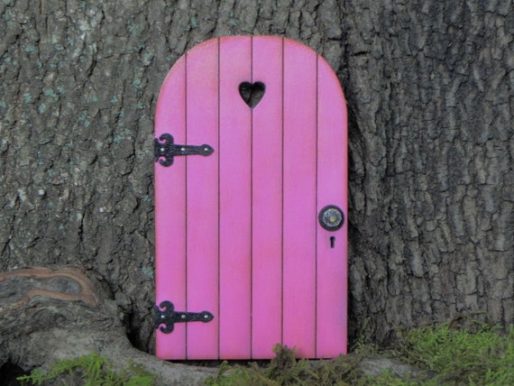 Fairy Door Fairy Garden Miniature Wood Bright Azalea Pink With