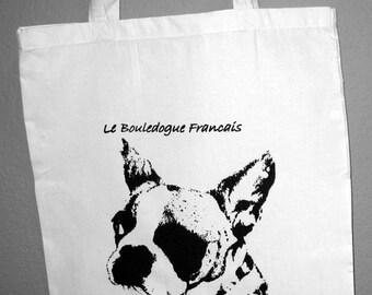 Flour Sack French Bulldog Tote with Original Art Hand Screenprinting - Le Bouledogue Francais