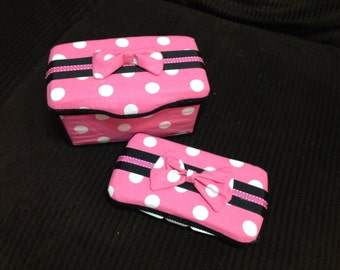 Minnie Inspired - Large Wipe tub and Travel Wipe Case