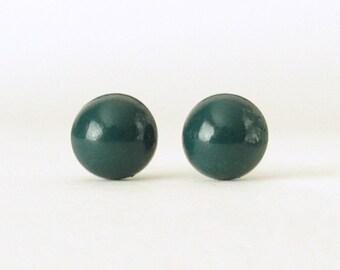 Dark Teal Studs, Green Stud Earrings, small round post earrings, dark teal earrings, teal stud earrings