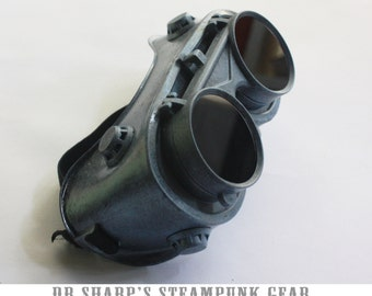 Blue Frost Finish Winter Steampunk Goggles by Dr. Sharp