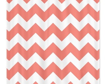 Curtains Ideas coral chevron shower curtain : Zig zag curtains | Etsy