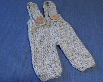Crocheted Newborn Baby Suspender Overall Pants