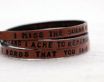 Leather wrap bracelet, Wrap bracelet,Stamped bracelet,Matt Nathanson I miss the sound of your voice,The loudest thing in my head