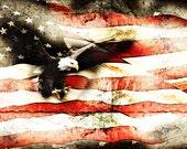 Bald Eagle Bursting Thru Flag Veterans, Memorial Day, Patriotic Montage Flag Eagle