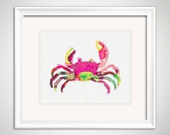 Crab Watercolor Illustration, Pink Crab Print, Colorful Crab Illustration, Crab Art Print, Palm Beach Chic, Beach House Wall Art