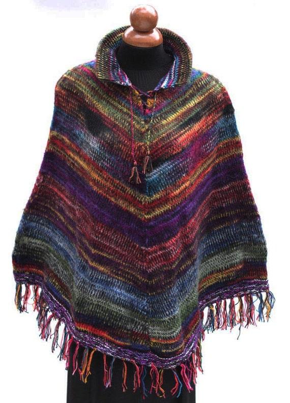 New Womens Alpaca Wool Yarn Wrap Poncho Sweater By