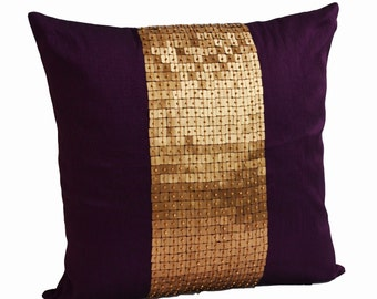 Decorative Throw Pillows, Purple gold color block in silk sequin bead detail cushion, sequin bead pillow,  18X18 Purple pillow, gift pillow