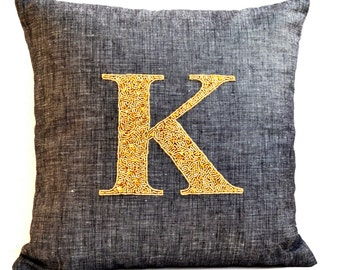 French Linen Pillow Cover- Personalized Throw Pillow Case- Grey Linen Pillow- 14x14- Gold Sequin Throw Pillow Case- Monogram Pillow Gift