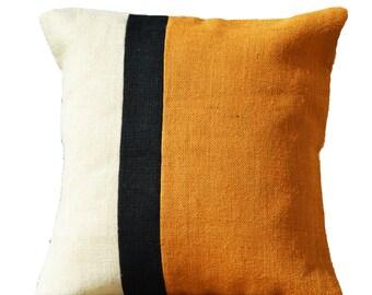 Decorative Throw Pillow Case Mustard Burlap Color Block, Cushion Cover, Accent Pillow, Wedding Housewarming Gift All Sizes Euro Sham Hessian