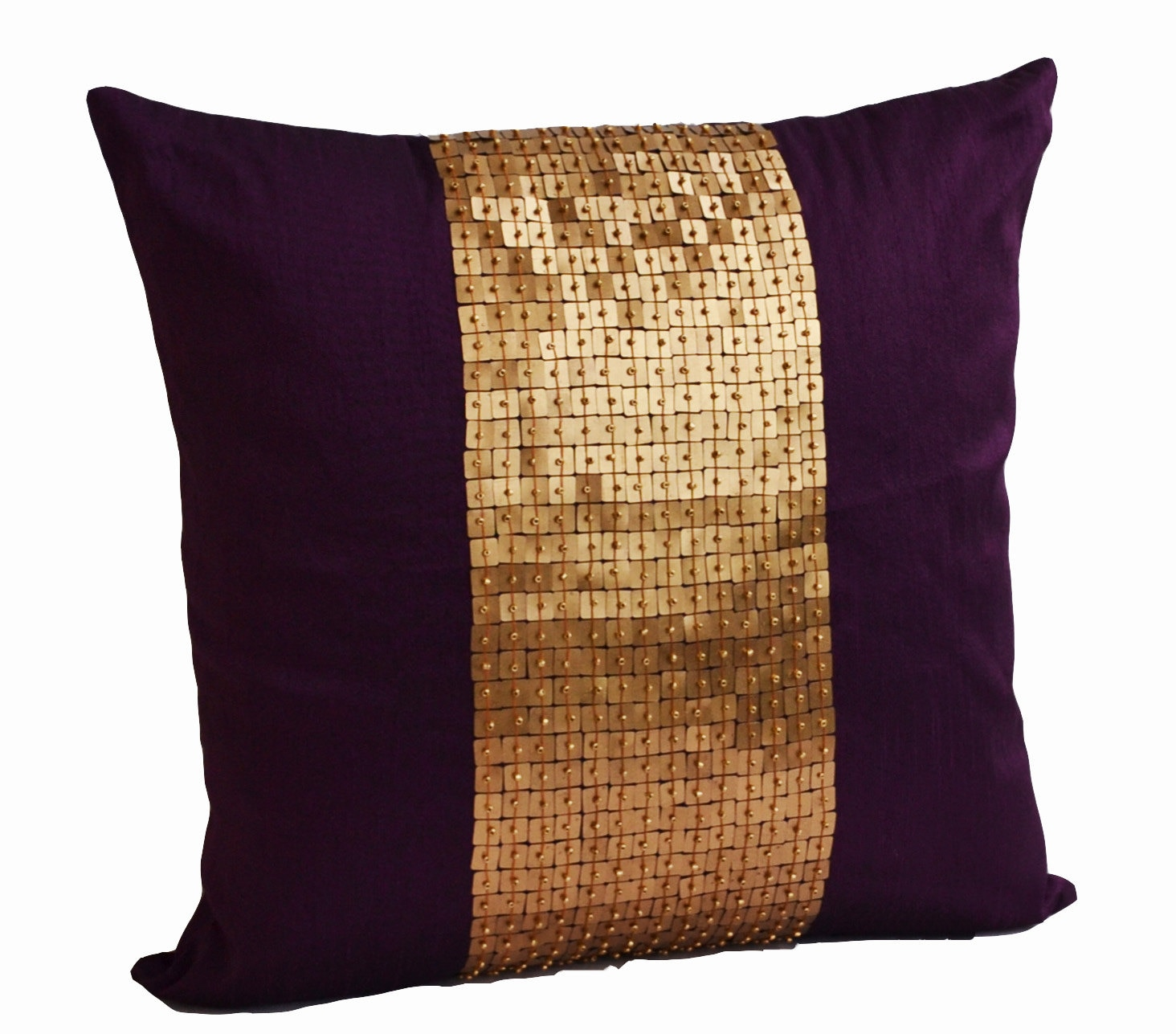 Decorative Throw Pillows Purple gold color block in silk - photo#31
