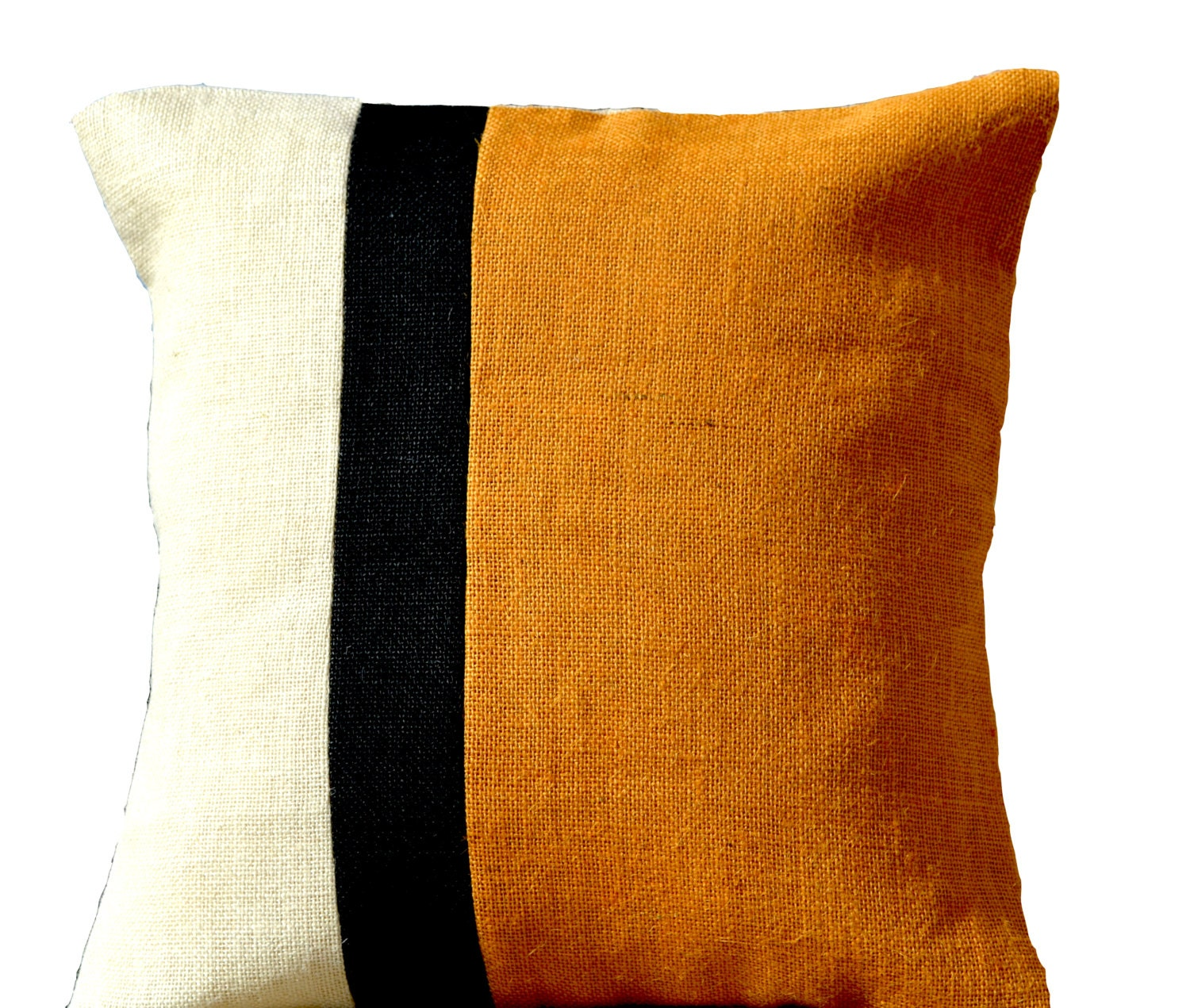 decorative throw pillow case mustard burlap color block. Black Bedroom Furniture Sets. Home Design Ideas