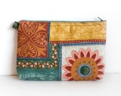 Cosmetic Zipper Pouch, Flowers Bag Purse in ocher and green, Floral Makeup Organiser Bag, Silk road