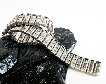 1920s Deco Bracelet, Sterling Silver & Faceted Clear Crystals, Channel Set, Flapper Style, Hallmarked, USA.