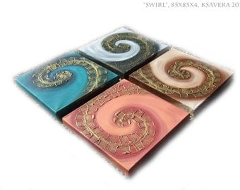 """Original Contemporary textured Painting on canvas """"Swirl"""" KSAVERA Relief Gold Art Nouveau for Office Livingsroom Bettroom"""