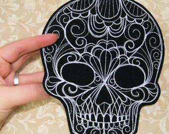 Large Gothic Day of the Dead Skull Iron On Embroidery Patch MTCoffinz - Choose Size