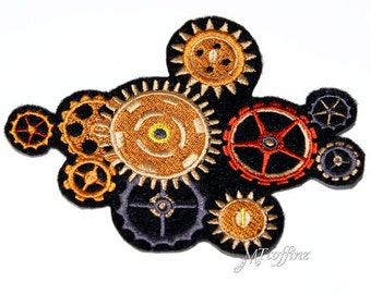 SteamPunk 10 Brass Copper Gears Iron On Embroidery Patch MTCoffinz