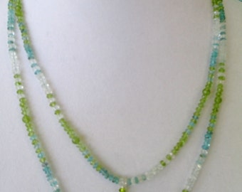 Double Strand of Peridot, Apatite, and Light Blue Topaz Necklace