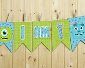 """INSTANT DOWNLOAD Monsters """"I am one"""" / """"I am two"""" high chair banner - Printable"""