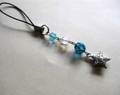 Charm, bag charm, phone charm, zipper pull, aqua blue, glass beads, star, children, teens, school