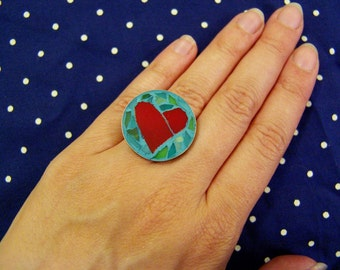 Heart ring/ round stained glass jewelry/ adjustable size/ free shipping