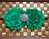 Beautiful Emerald Green Baby Newborn Infant Toddler Shabby Chic Rose Flower Christmas Headband Head Band Made To Order
