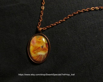 Yellow Cat Art Pendant