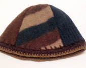 Handmade Upcycled Wool Hat with Crocheted Edge