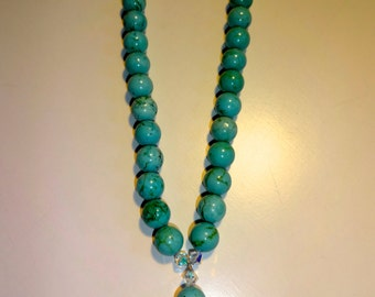 Beaded Turquoise Necklace with Drop