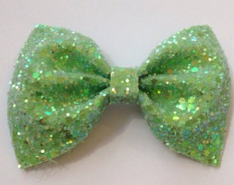 Medium Lime  Glitter Bow / Green Glitter Bow / Glitter Fabric Bow / Headband / Sparkly Hair Clip / Bow Hair Clip