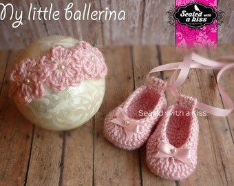 Ballet set,  Ballerina Shoes Crochet,  Baby ballerina, Crochet set (FINISHED ITEMS)