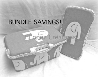 Bundle SAVINGS: Custom NURSERY & TRAVEL Wipe Case - Gray and White Elephants Print