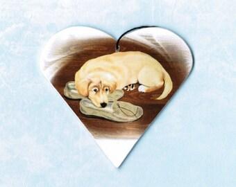 Golden Retriever Ornament - Golden Retriever Magnet - Golden Retriever Art - Tree Ornament - Christmas Ornament - Pet Portrait - Heart