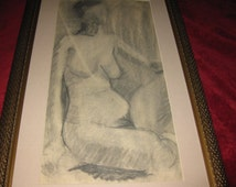 """ANTIQUE CHARCOAL NUDE Drawing Framed 31"""" X 19 1/2"""""""