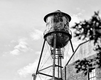 Water Tower photograph, Black & White Photo of a water tower in Brooklyn, New York - 8x10 photograph