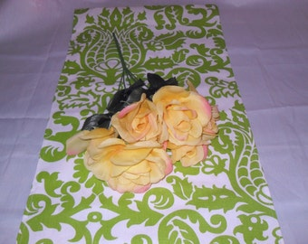 Handmade Table Runner, 13 x 36, premier Prints Amsterdam Chartreuse/Lime Green/White, Ready to Ship, Home Decor